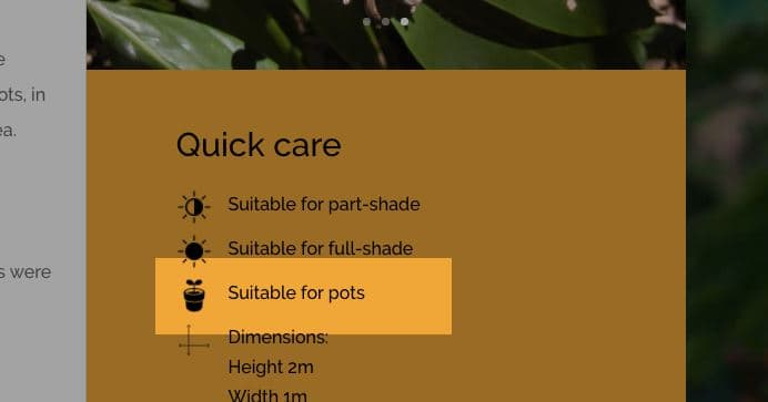 Snip of 'Suitable for pots' icon from a plants page